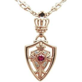 誕生石 メンズネックレス クロス ネックレス 百合の紋章 王冠 ペンダント