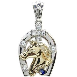 プラチナ K18 ホースモチーフ コンビ メンズ 馬蹄 ペンダント ペンダントヘッド 馬 人気