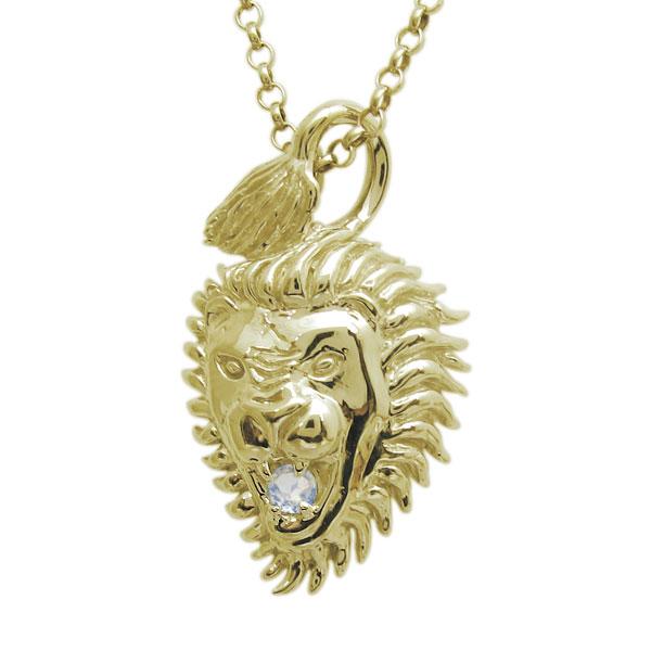 ライオン メンズネックレス 誕生石 ペンダント 百獣の王 18金
