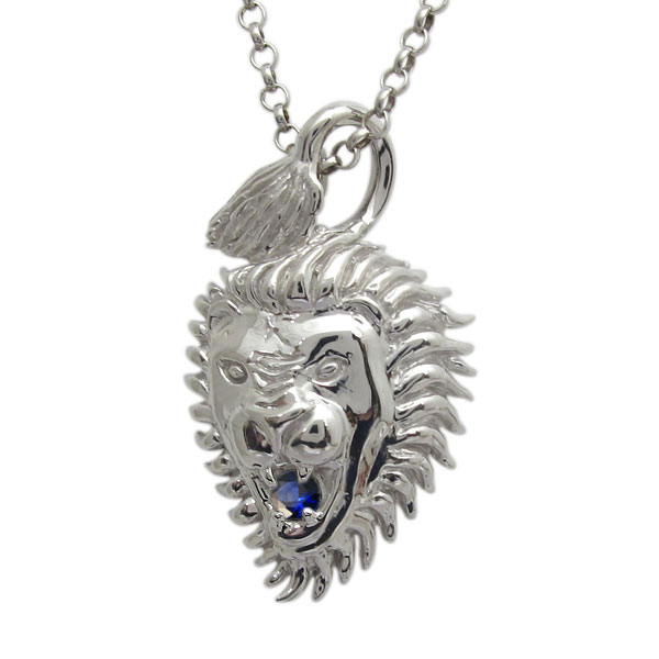 ライオン メンズネックレス 誕生石 プラチナ ペンダント 百獣の王