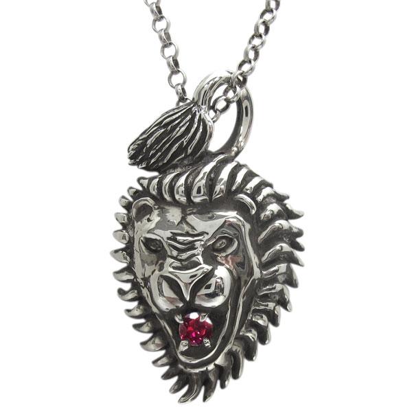 誕生石 ライオンネックレス シルバー ペンダント 百獣の王