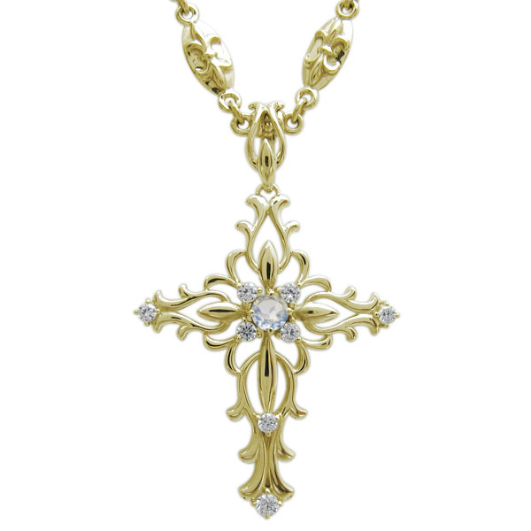 ネックレス・メンズ・クロス・十字架・選べる誕生石・10金・ペンダント