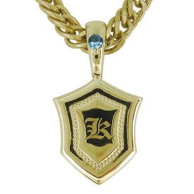 18金 ネックレス シールド 盾 メンズ ブルートパーズ イニシャル 喜平 k18