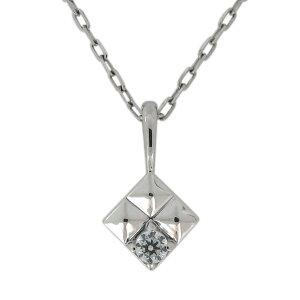 プラチナ 一粒 ネックレス 天然石 ダイヤモンド ペンダント スタッズ ピラミッド
