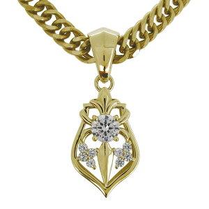 メンズ ネックレス 18k 18金 喜平 ダイヤモンド 百合の紋章 ペンダント