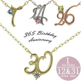 【ポイント5倍】24日20時から 数字 ナンバー ネックレス 誕生日 プレゼント K18 誕生石 ペンダント