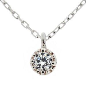 ネックレス レディース シンプル 華奢 スキンジュエリー プラチナ 一粒 ダイヤモンド 小粒 母の日