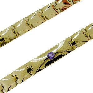 18金 ブレスレット メンズ アメジスト ベルト 幅広 シンプル メンズブレス 地金 18k ブレスレット