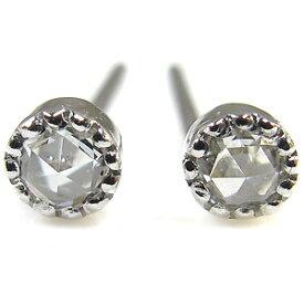 ダイヤモンド ピアス k18 アンティーク リバーシブル パールキャッチ ピアス レディース