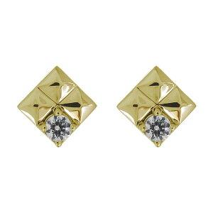 18金 K18 ピアス スタッズ ダイヤモンド 4月誕生石 メンズ カジュアル