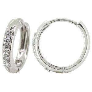 フープピアス メンズ 片耳 リング ピアス プラチナ ダイヤモンド シンプル