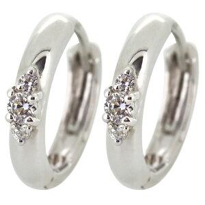 ピアス ダイヤモンド 小さめ 小ぶり フープピアス レディース シンプル プラチナ 人気