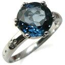11月誕生石 大粒 ロンドンブルートパーズ リング k10 指輪 10金 クラウン レディースリング