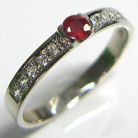 結婚指輪・ルビー・リング・プラチナ・マリッジリング・レディース・ハーフエタニティ クリスマス プレゼント