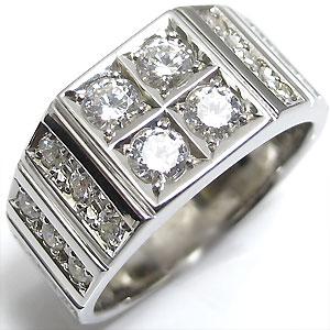 18金 リング ダイヤ ダイヤモンド リング 印台リング メンズ