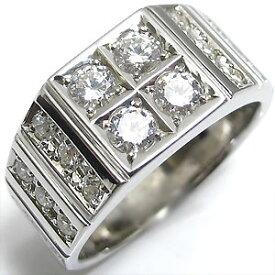 【ポイント5倍】29日9:59迄 ダイヤモンドリング 印台 メンズ プラチナ リング ダイヤモンド 指輪