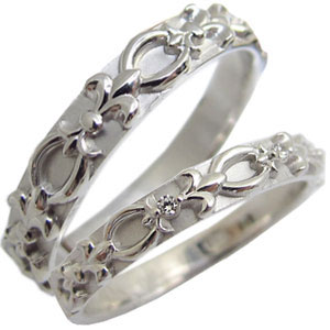 【送料無料】結婚指輪・マリッジリング・天然ダイヤモンド・ペアリング・百合の紋章・プラチナ・リング【RCP】10P06Aug16