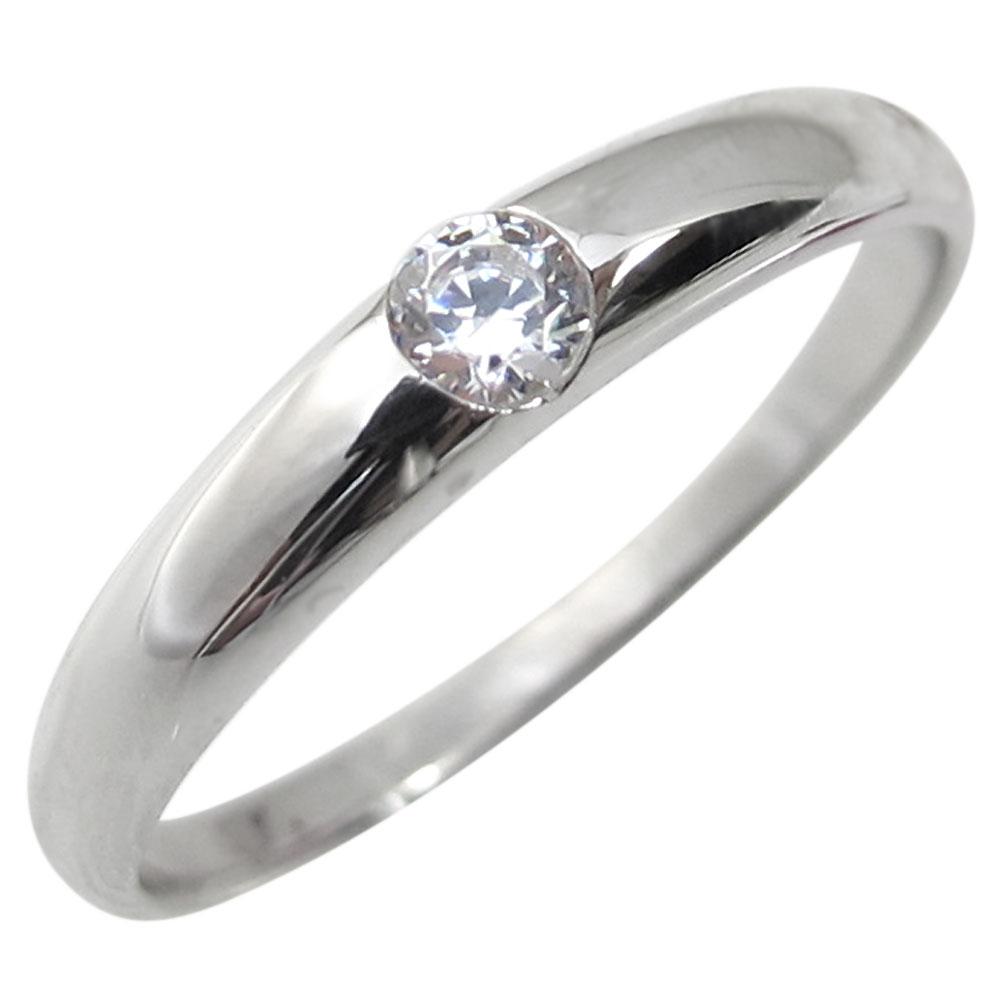 プラチナ・リング・シンプル・一粒・婚約指輪・ソリティア・ダイヤモンド・爪なし・エンゲージリング