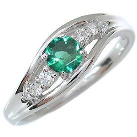 プラチナ エンゲージリング 婚約指輪 エメラルド 5月誕生石 一粒