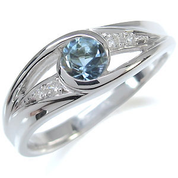 プラチナ エンゲージリング アクアマリンサンタマリア エンゲージリング 一粒 婚約指輪