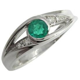 プラチナ エンゲージリング エメラルド エンゲージリング 一粒 婚約指輪