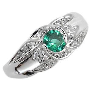 【送料無料】プラチナ 婚約指輪 5月誕生石 エメラルド エンゲージリング 一粒【RCP】10P06Aug16