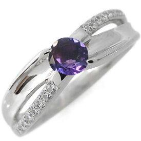 婚約指輪 2月誕生石 一粒 アメジスト エンゲージリング 18金