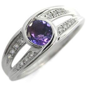 婚約指輪 大粒 エンゲージリング アメジスト 2月誕生石 18金 リング