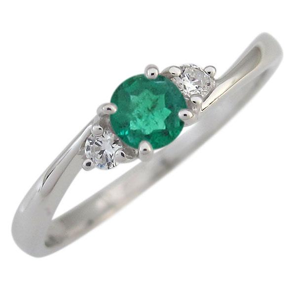 プラチナ エンゲージリング エメラルド 婚約指輪 一粒 シンプル リング