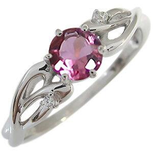 ピンクトルマリン エンゲージリング 10月誕生石 18金 大粒 ピンクトルマリン 婚約指輪