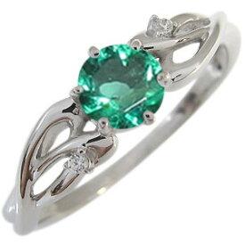 プラチナ エンゲージリング エメラルド 婚約指輪 大粒 リング