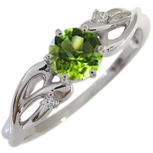 【送料無料】ペリドット エンゲージリング 8月誕生石 18金 大粒 ペリドット 婚約指輪【RCP】10P06Aug16