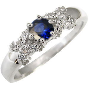 プラチナ サファイア 婚約指輪 一粒 エンゲージリング サファイア リング