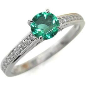 プラチナ ハーフエタニティ 婚約指輪 エメラルド リング