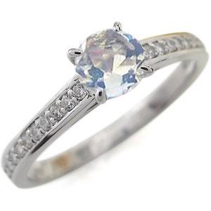 ロイヤルブルームーンストーンリング ハーフエタニティ エンゲージリング 大粒 18K 婚約指輪