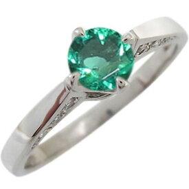 エメラルド エンゲージリング K18 一粒 婚約指輪 エメラルドリング