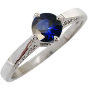 【送料無料】サファイア エンゲージリング K18 一粒 婚約指輪 サファイアリング【RCP】10P06Aug16