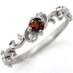 プラチナ 選べる誕生石 ピンキーリング 唐草 天然石 エンゲージリング 婚約指輪