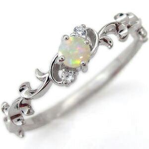 アラベスク エンゲージリング 唐草 エンゲージリング オパール 婚約指輪 K10