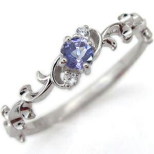 アラベスク エンゲージリング 唐草 エンゲージリング タンザナイト 婚約指輪 K10
