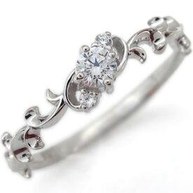 プラチナ エンゲージリング 一粒 ダイヤモンド ラウンドブリリアントカット 婚約指輪 唐草