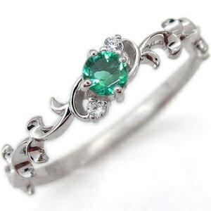 プラチナ エンゲージリング 一粒 エメラルド エンゲージリング 唐草 婚約指輪