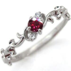 アラベスク エンゲージリング 唐草 エンゲージリング ルビー 婚約指輪 K10