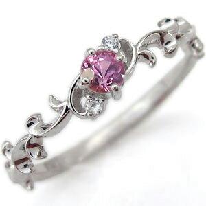 プラチナ エンゲージリング 一粒 ピンクサファイア エンゲージリング 唐草 婚約指輪