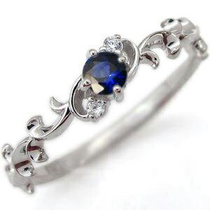 サファイアリング 唐草 一粒 サファイア 婚約指輪 K18