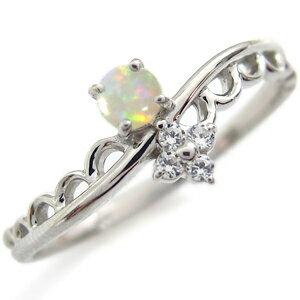 プラチナ オパール エンゲージリング レース 婚約指輪 ピンキーリング