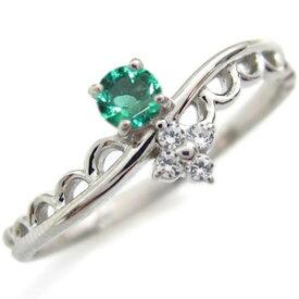 一粒 エメラルド 婚約指輪 エメラルドリング K18 ピンキーリング