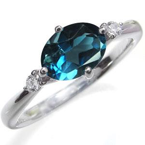 11月誕生石 大粒 ロンドンブルートパーズ リング シンプル 一粒 指輪 K10