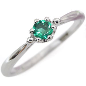 【送料無料】プラチナ シンプル エンゲージリング エメラルド 王冠 婚約指輪【RCP】10P06Aug16