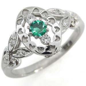 【送料無料】エメラルド エンゲージリング アンティーク エンゲージリング 婚約指輪【RCP】10P06Aug16
